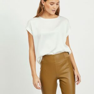 Viellette s/s satin top snow white