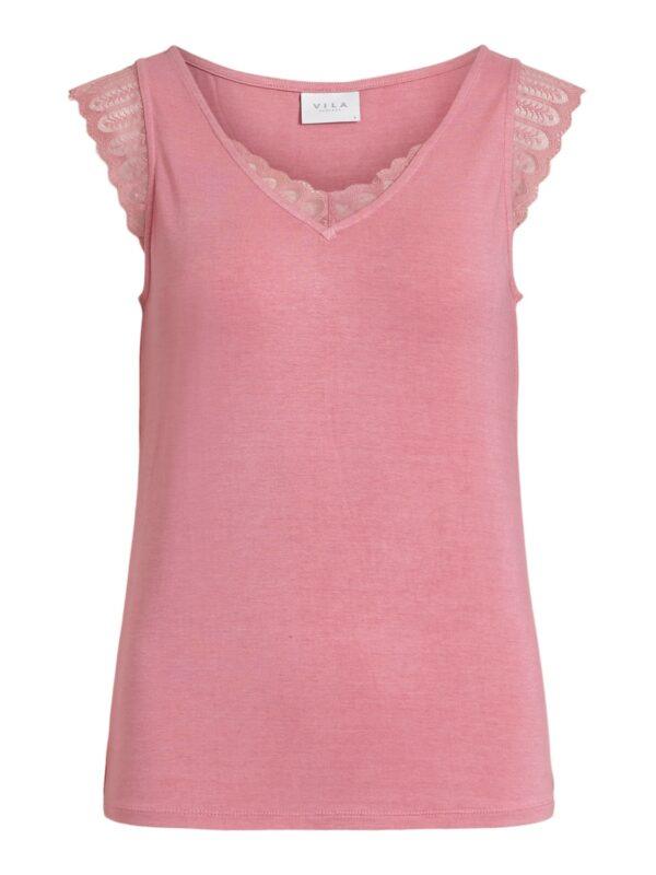 Visonilla lace detail top roze