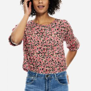 Ladies T-shirt Flowers Fiery Pink