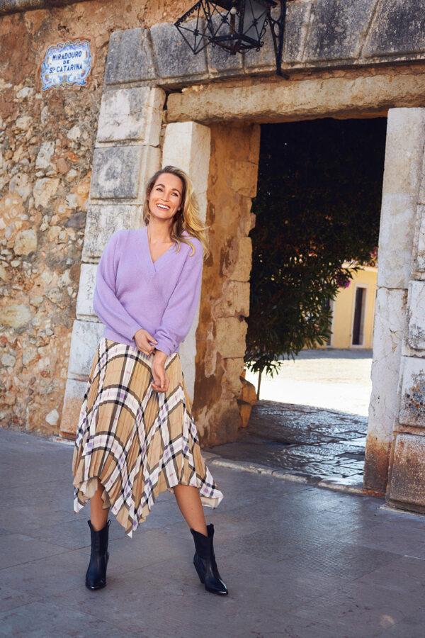 Midi skirt check print