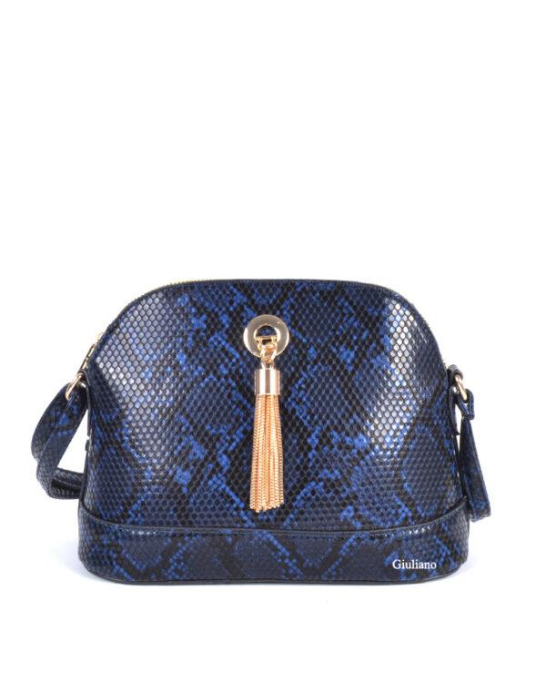 Handtas slangenprint zwart-blauw
