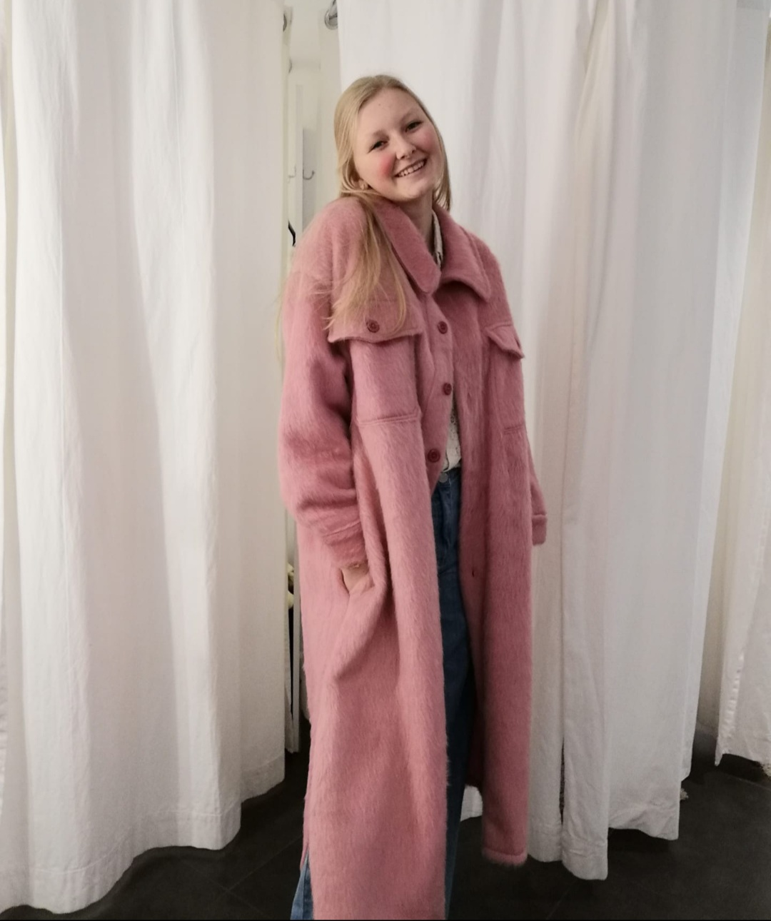 long jacket roze one size