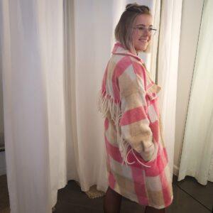 Jacket Franjes Checked Roze-Beige-Wit