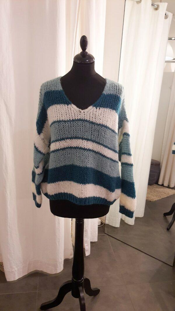 Knit Striped Green