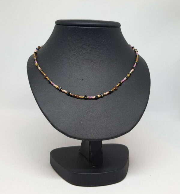 Kralenketting Roze-goud-zwart