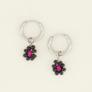 Oorbellen zwarte bloemetjes
