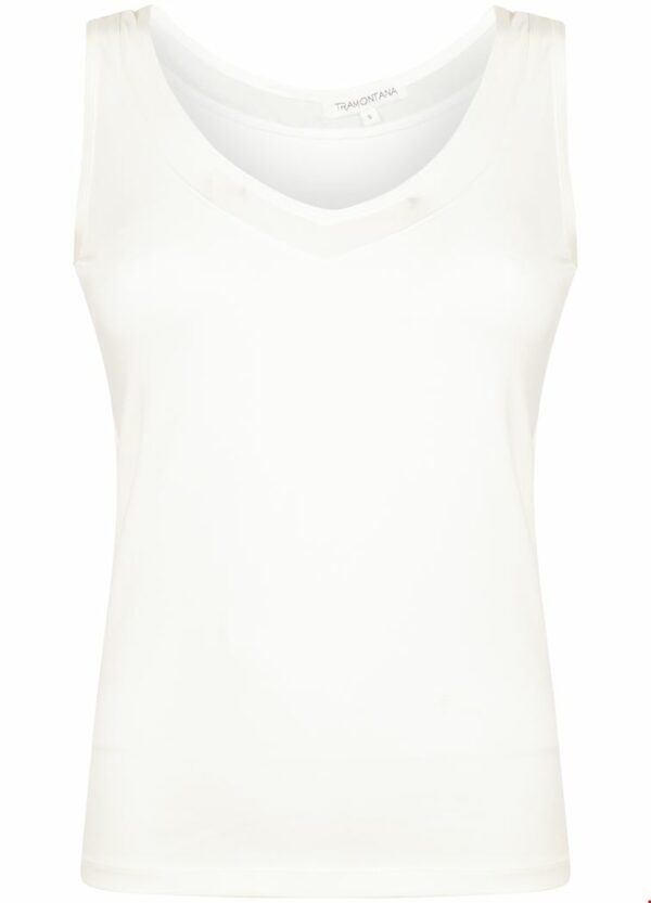 Basic V-neck Singlet Mesh Off White
