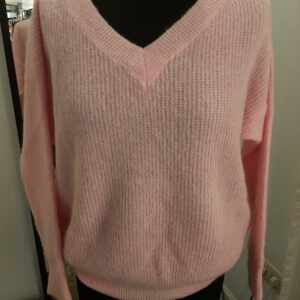 Knitted Pullover V-neck roze