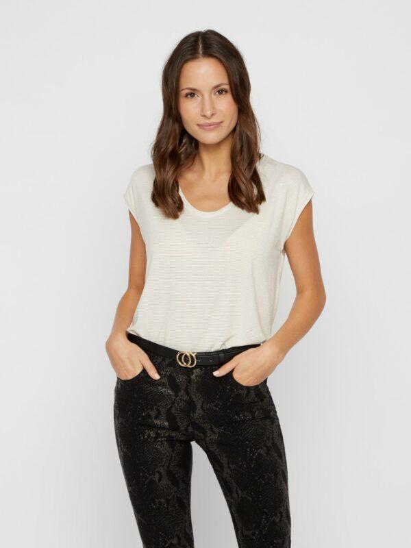 PcBillo Lurex T-shirt white/Gold
