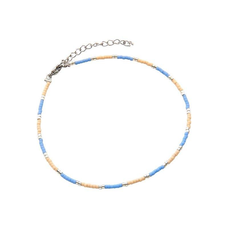 Kralen enkelbandje indian summer blauw