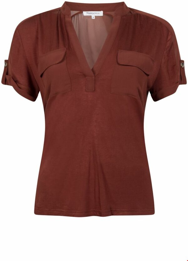 Top S/S Jersey Chiffon Mix Cognac