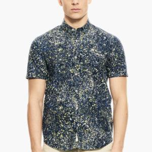 Overhemd all over print met korte mouwen