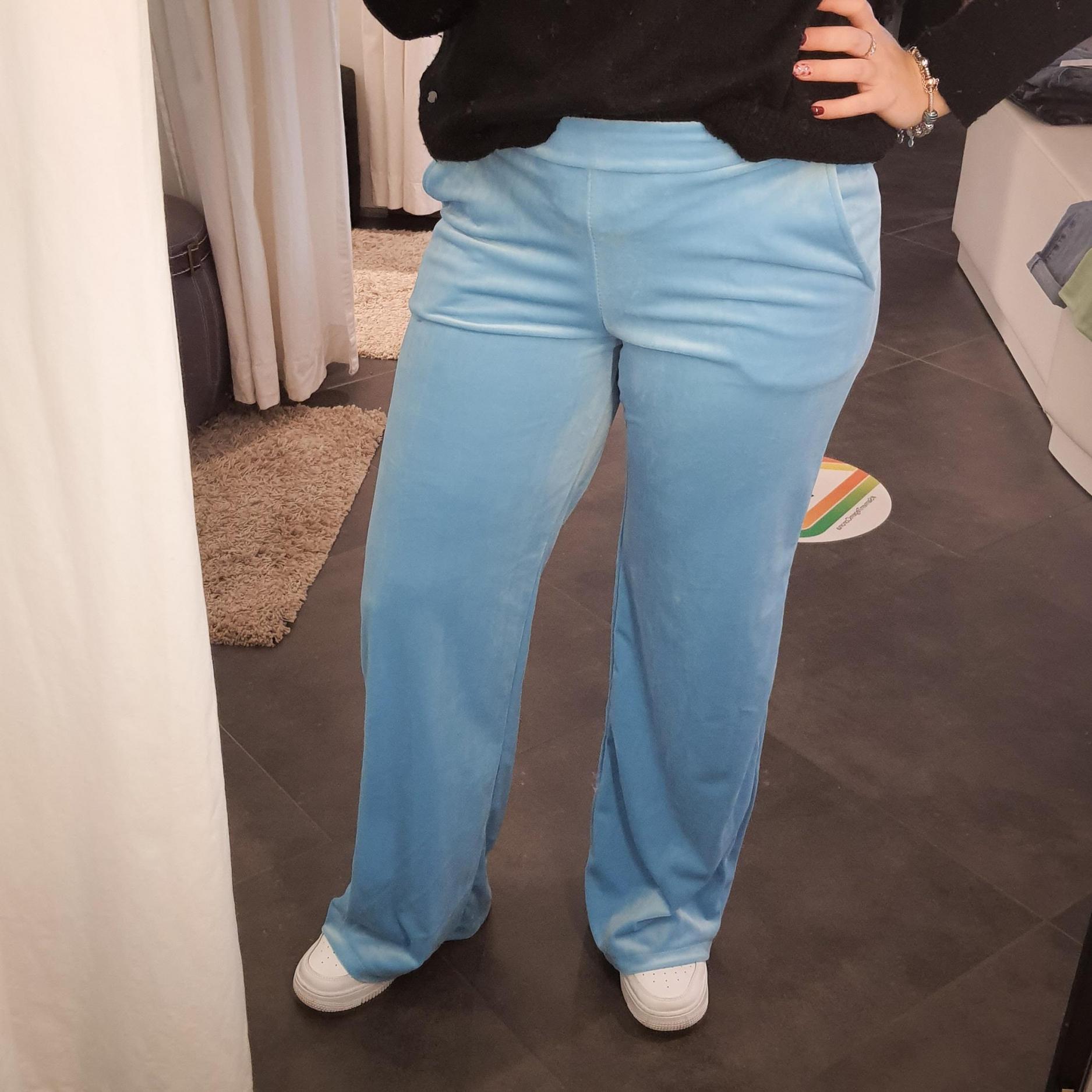 Lancio Velvet Pants Light Blue