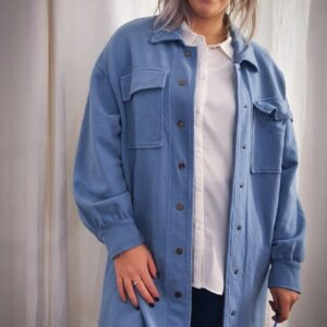 Lange sweatervest Blauw