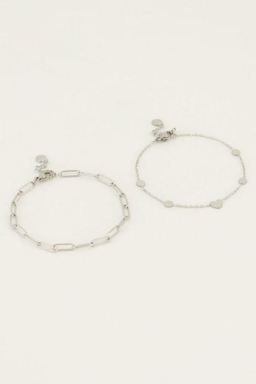 Armbanden set Schakel Zilver