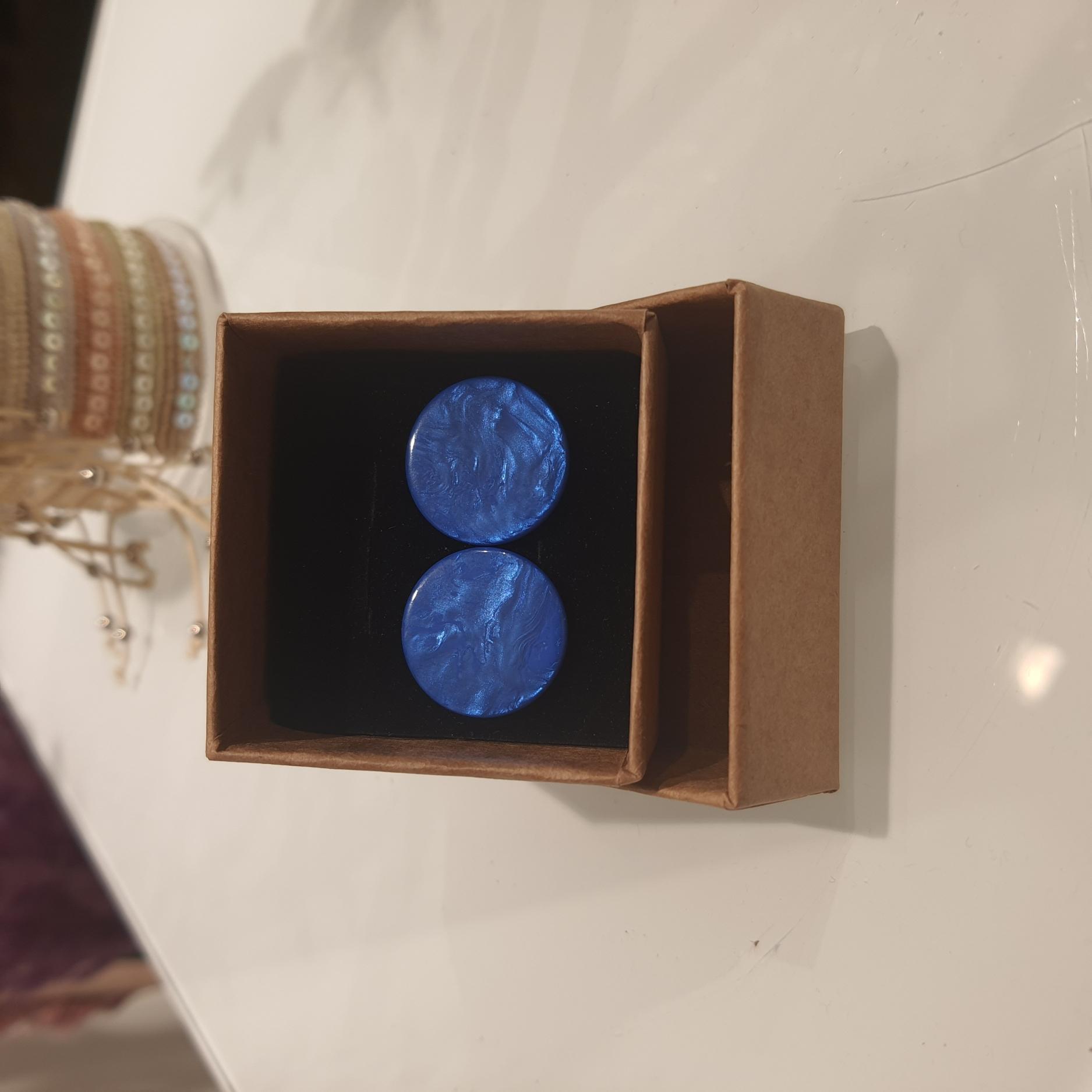 Oorbel Knop groot Blauw