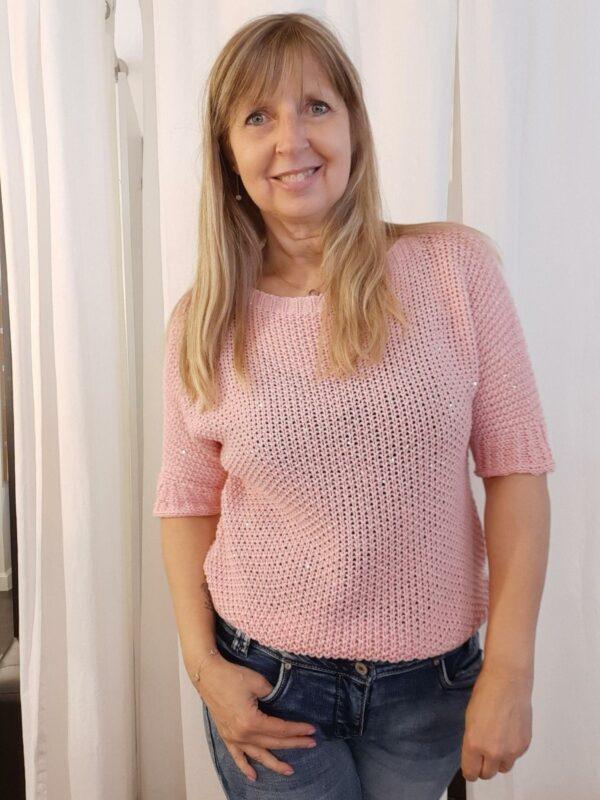 Anna knit glitter roze