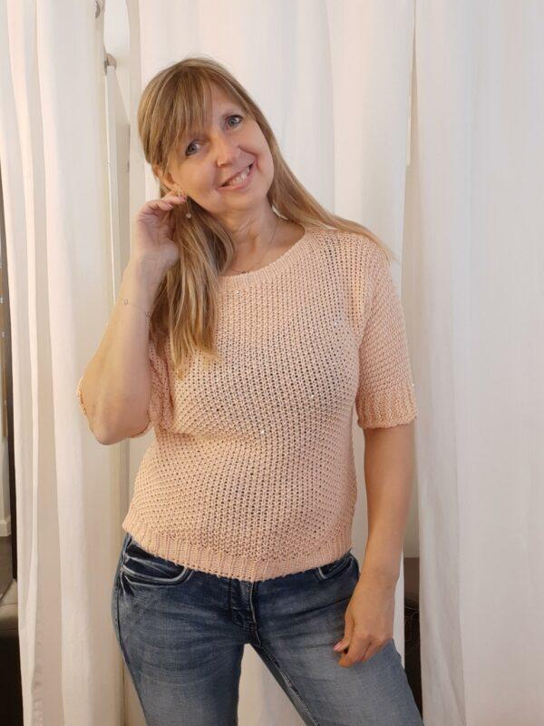Anna knit glitter zalm