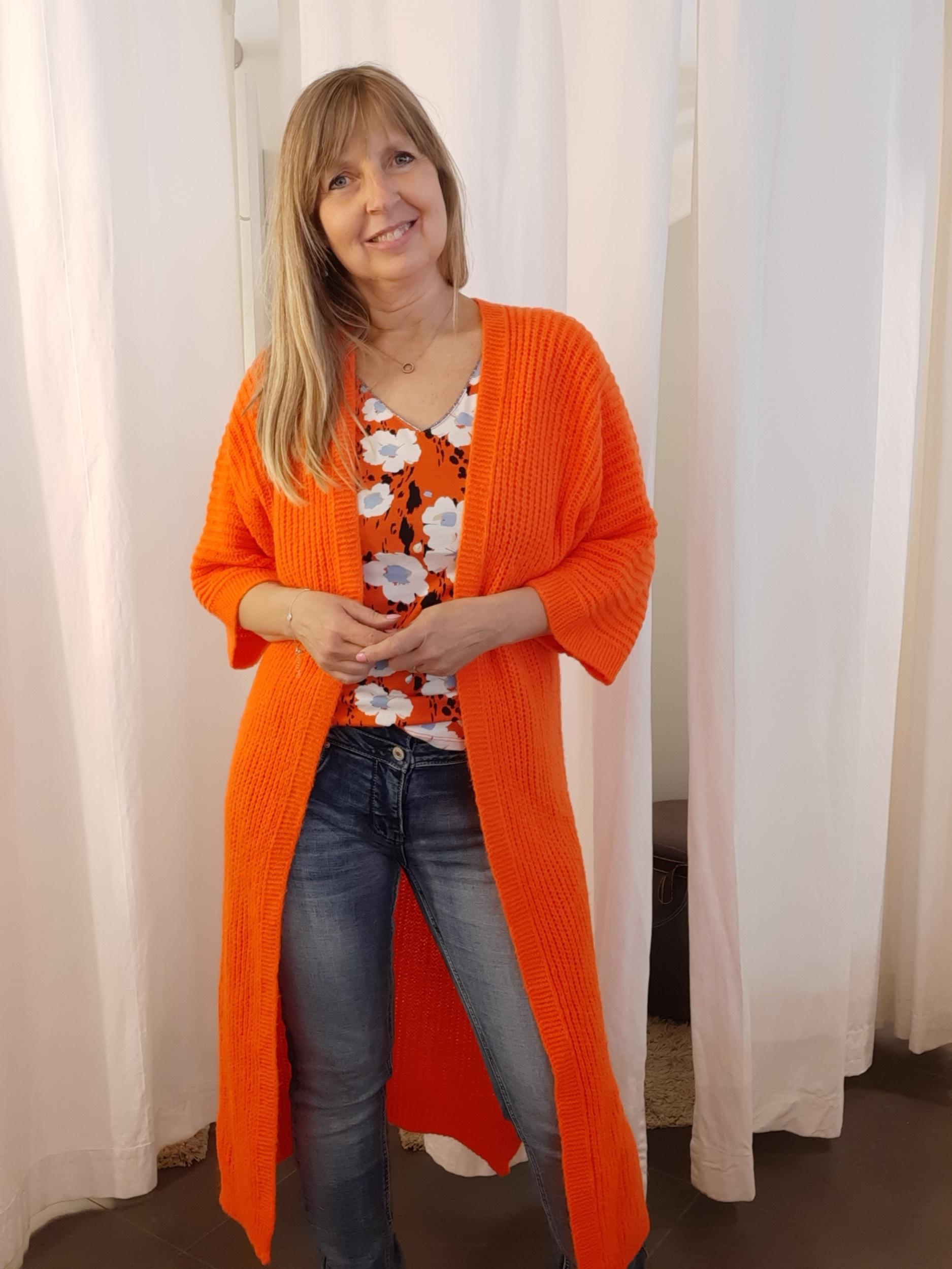 Lange cardigan oranje
