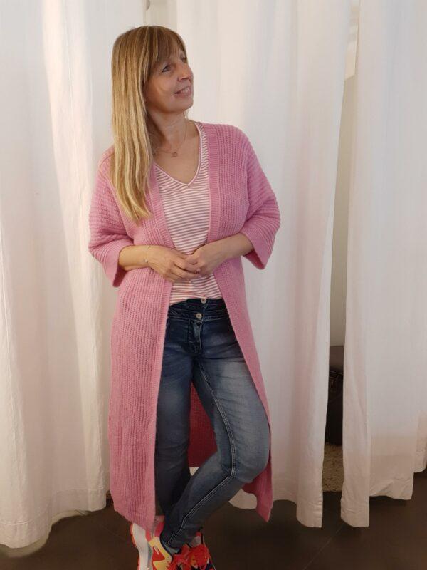 Lange cardigan roze