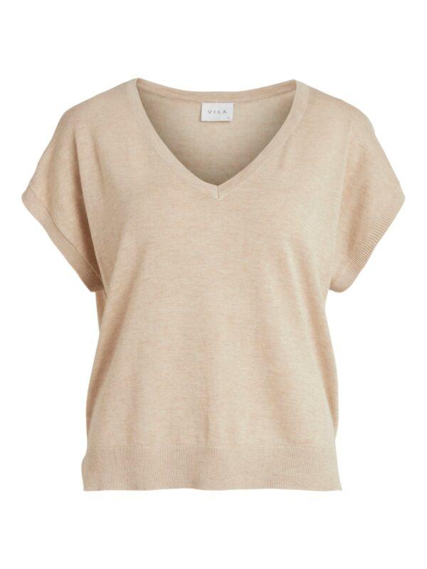 ViLesly V-neck Knit Top Natural Melange