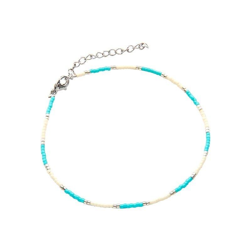 Kralen enkelband indian summer turquoise
