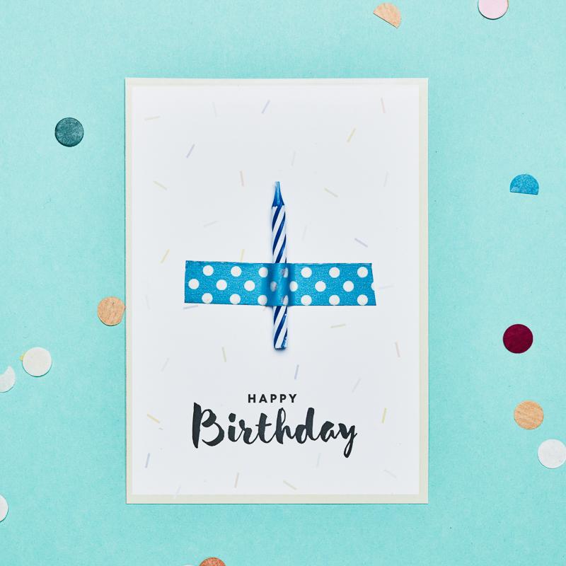 Birthday Candle kaartje Blue
