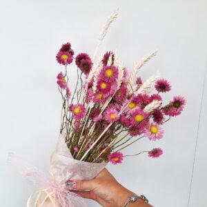 Droogboeket Tarwe & roze margriet