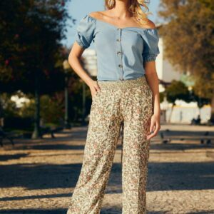 Trousers flower print mix
