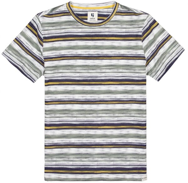 T-shirt Striped White-Olive-Yellow