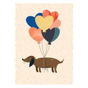 Dog + Balloons Kaartje