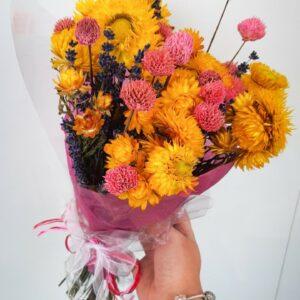 Droogbloemen boeket Lavendel, Helichrisium Geel & black daisy pink