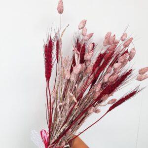 Droogboeket Phalaris roze en Roze pluimen
