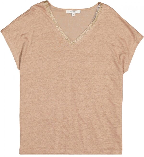T-shirt Lurex Hals Tan