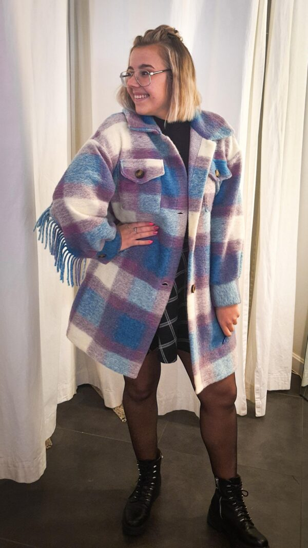 Jacket Franjes Checked Paars-Blauw-Wit