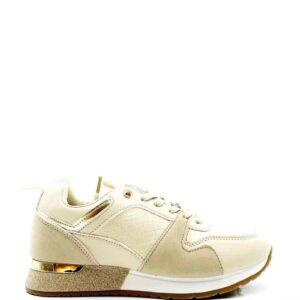 Sneaker glitterrand beige
