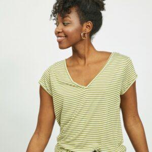 Viscoop t shirt stripe olive