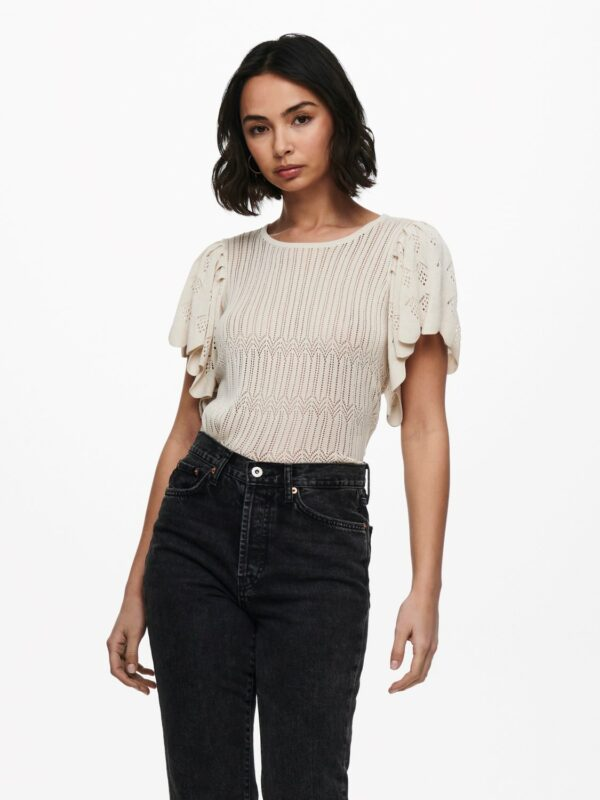 jdysolis knit top white sand