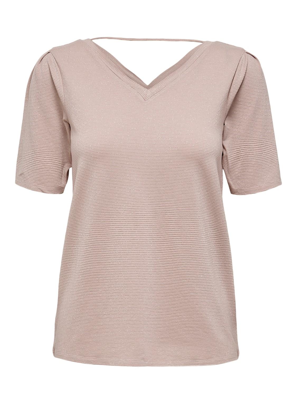 JdyRuna Lurex T-shirt Adobe Rose
