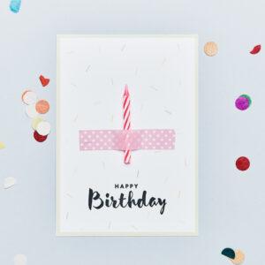 Birthday Candle kaartje Roze