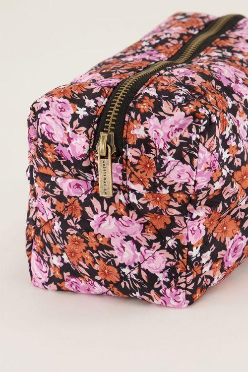 Roze make up etui met bloemen