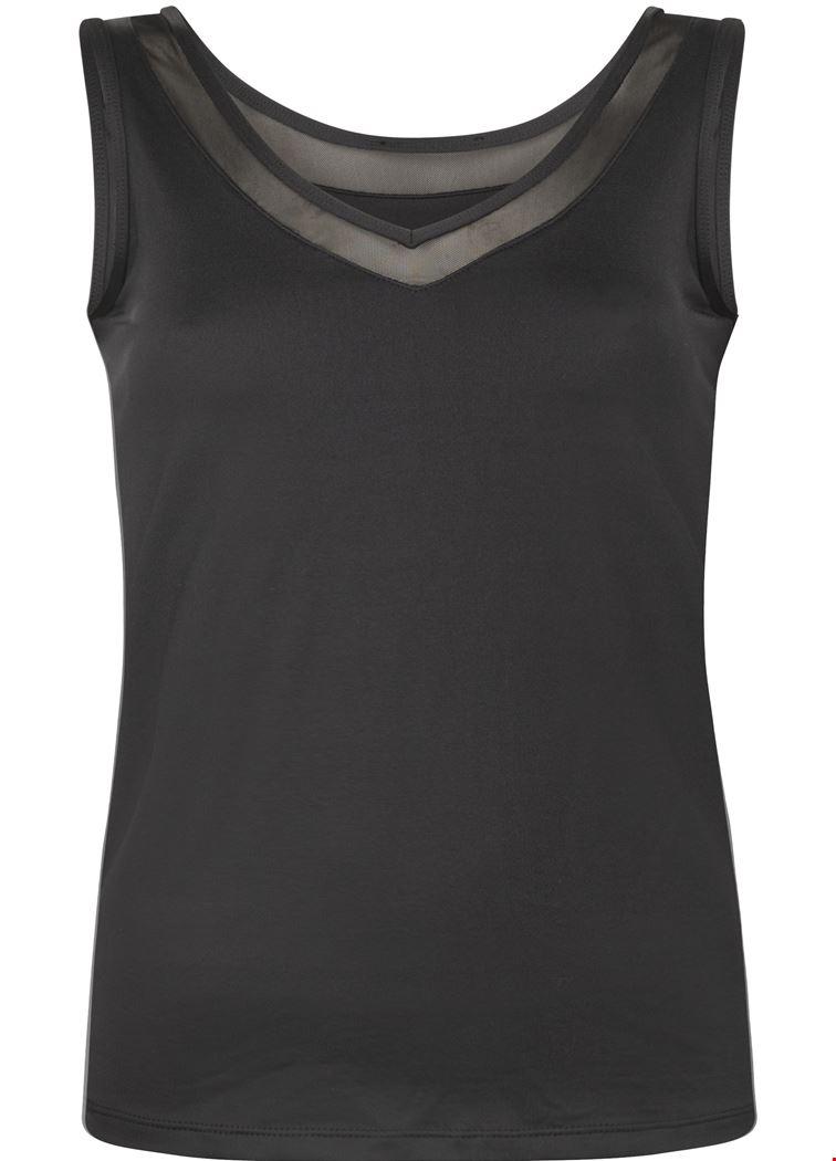 Basic V-neck Singlet Mesh Black