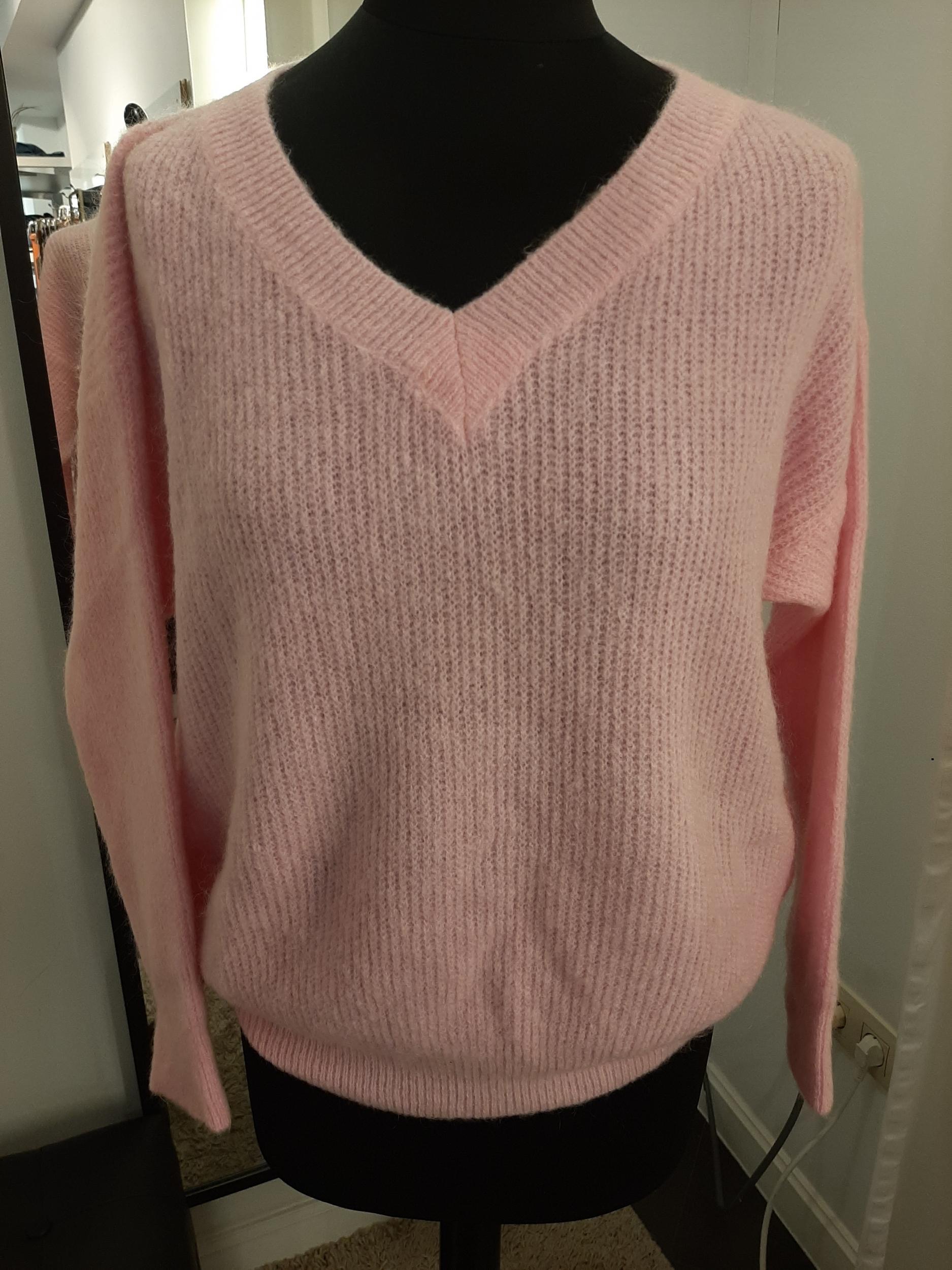Knit V-neck roze