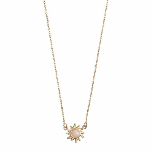 Sun with rose stone ketting GOUD