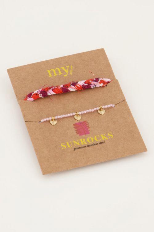 Roze Gevlochten armbanden set
