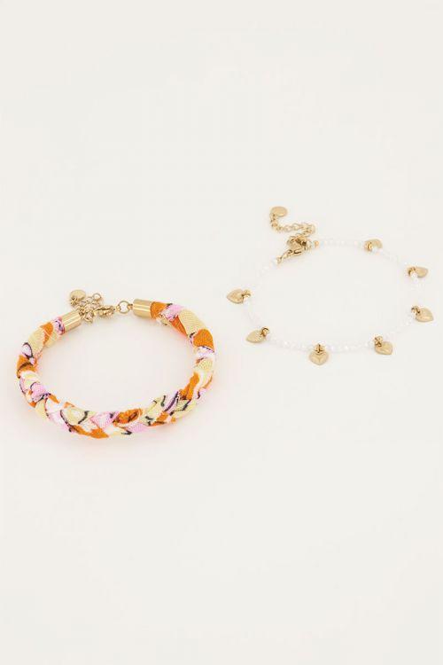 Oranje Gevlochten armbanden set