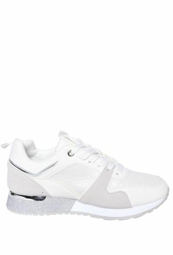 Sneakers Glitterrand Wit