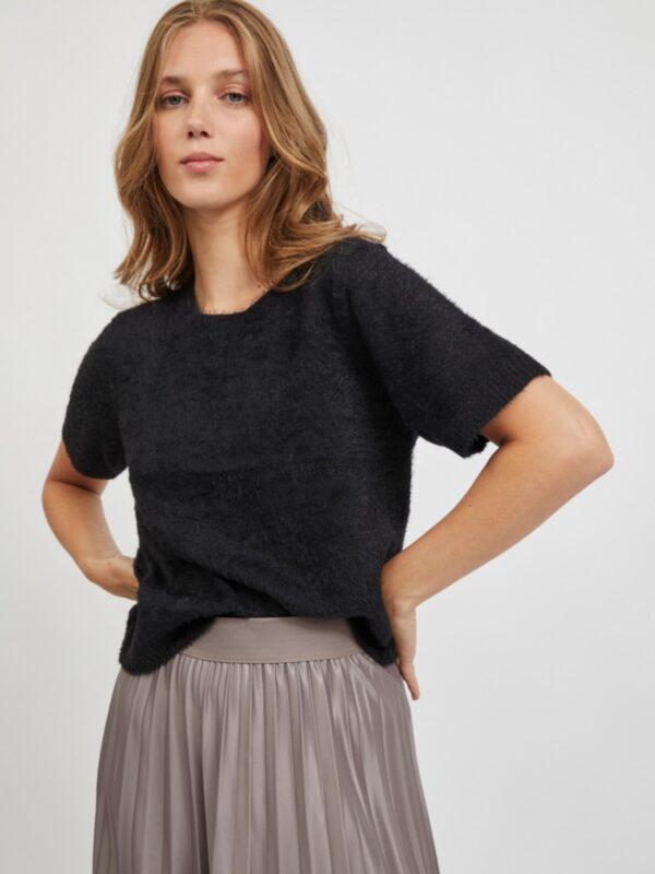 ViHelly Short Sleeve knit top Black