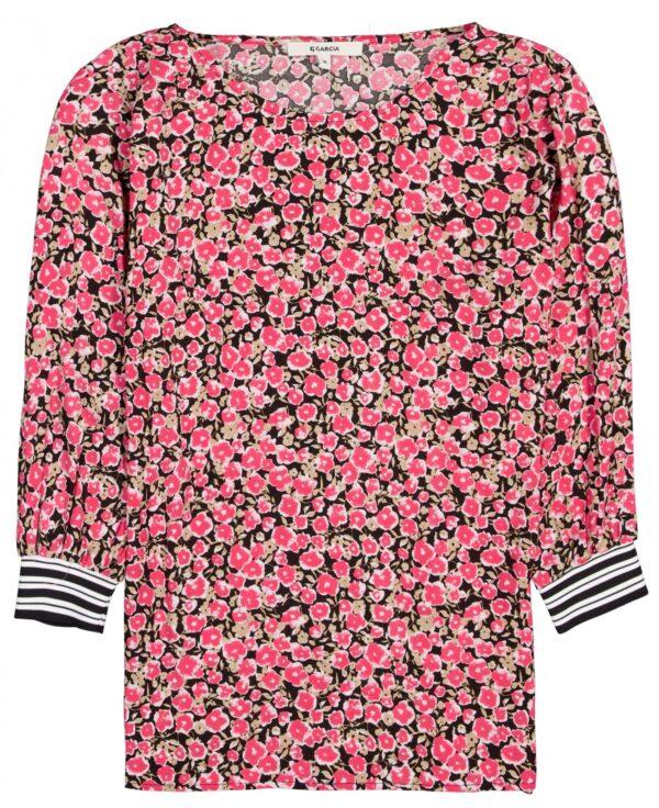 Ladies T-shirt Flowers Fiery Pink