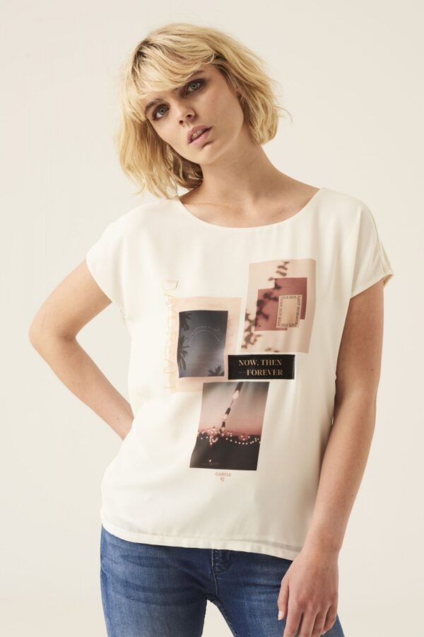 T shirt now then ,forever white